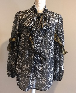 Black, White, gold sheer blouse  ~$65.99